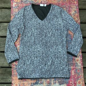 Weekend by Chico's black & white v neck sweater